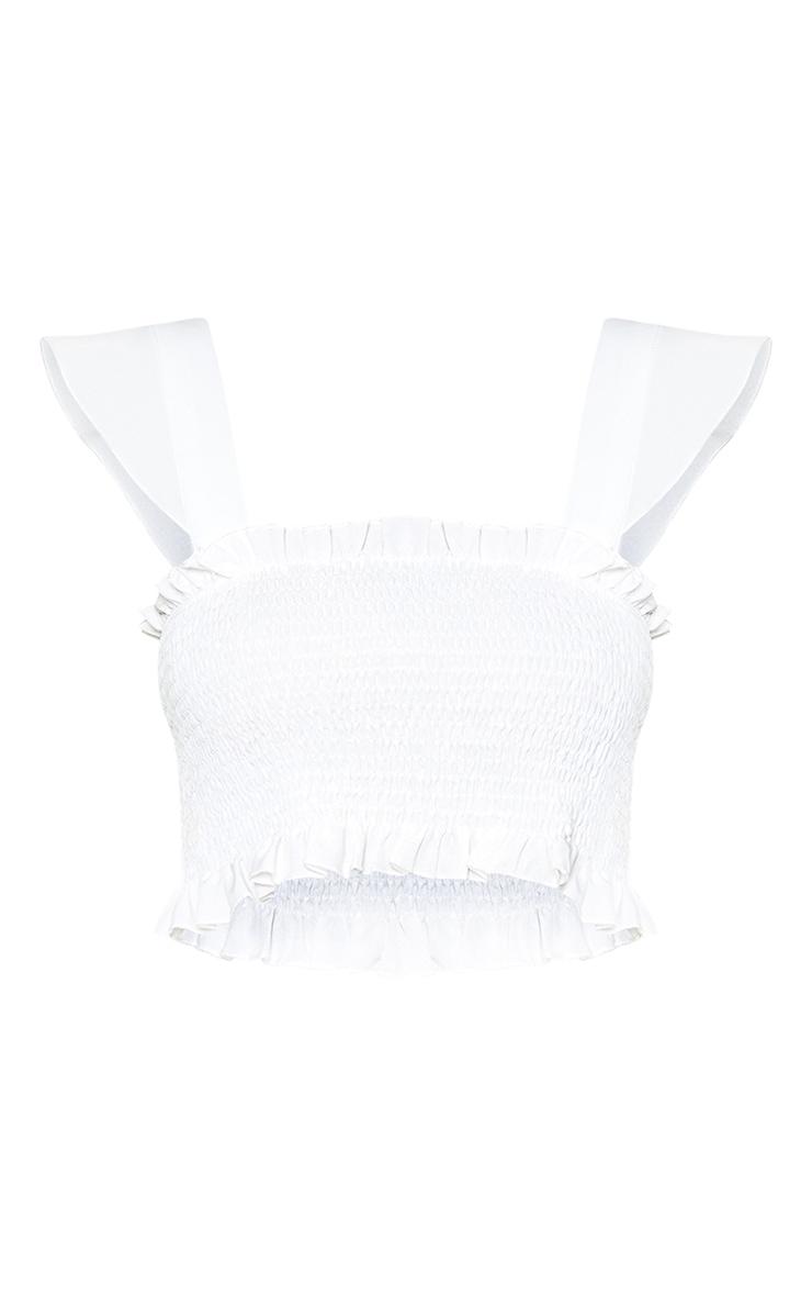 Petite White Shirred Frill Hem Crop Top 3