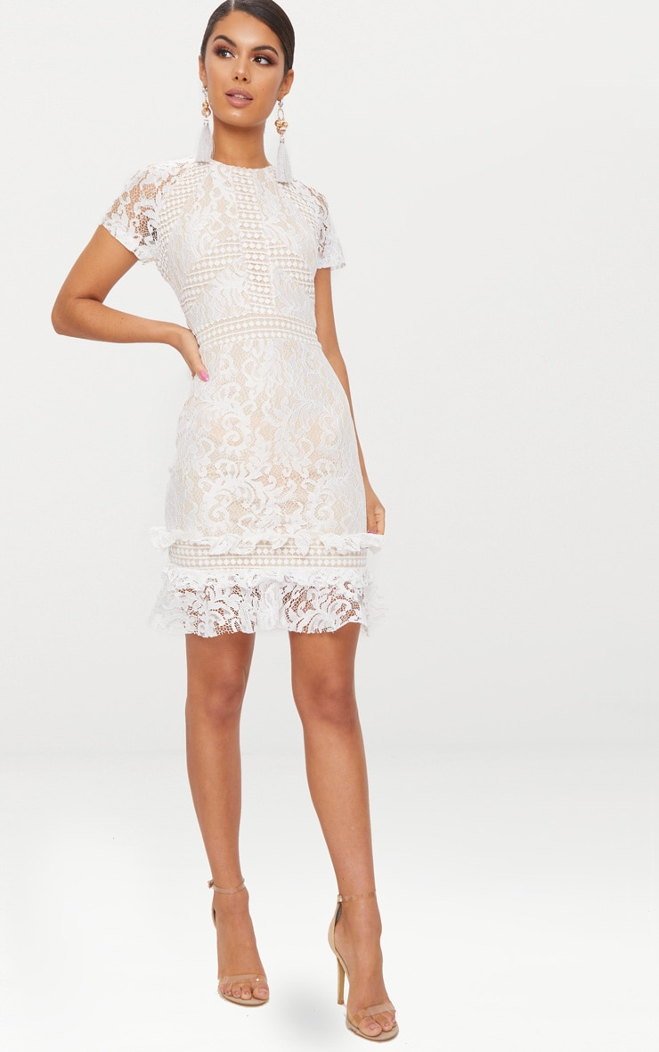 White Frill Hem Lace Bodycon Dress 4