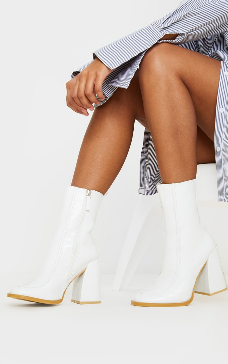 White Curved Toe Block Heel Ankle Boot 1