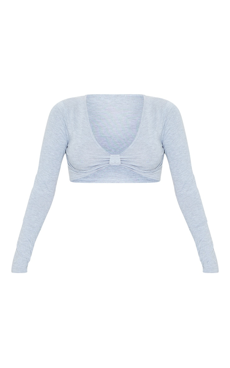 Grey Jersey Plunge Knot Front Long Sleeve Crop Top 5
