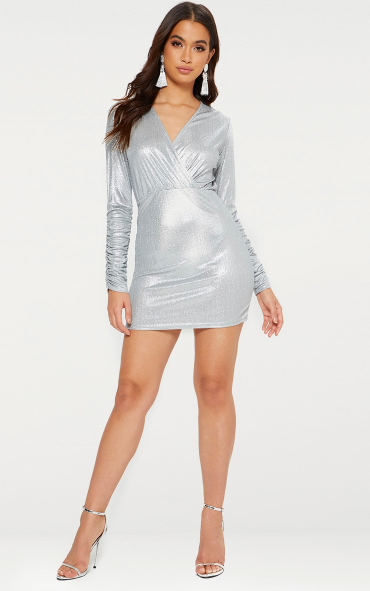 Silver Glitter Plunge Long Ruched Sleeve Bodycon Dress 3