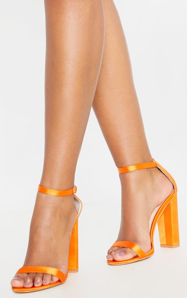 Orange Satin May Block Heel Sandal 2