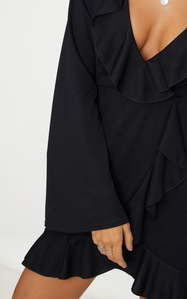 Black Frill Detail Flare Sleeve Wrap Dress 5