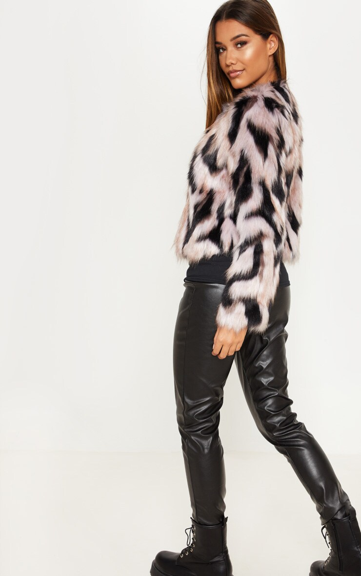 Pink Cropped Multi Faux Fur Coat 2