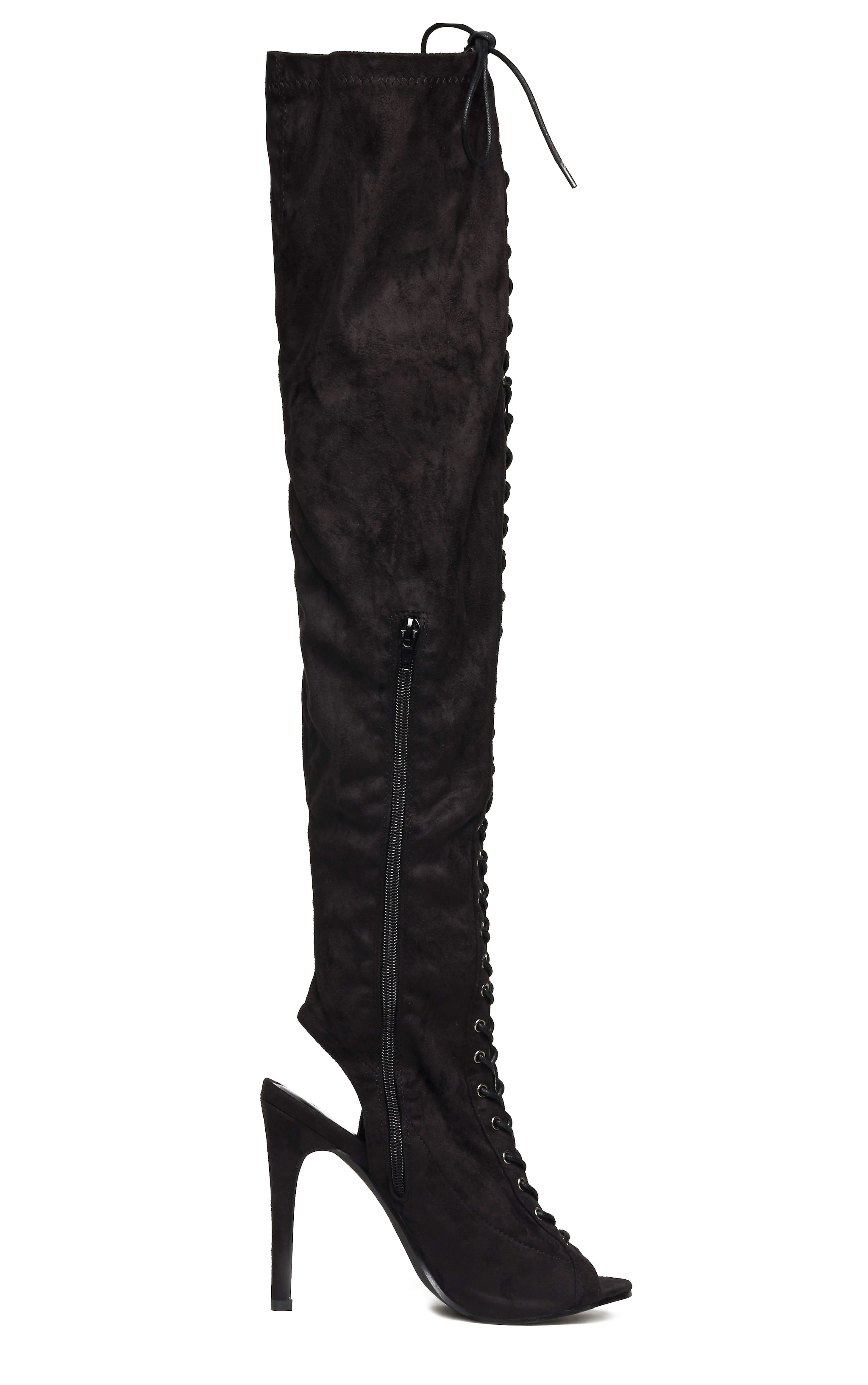 Valentina Black Suede Lace Up Thigh Boots 5