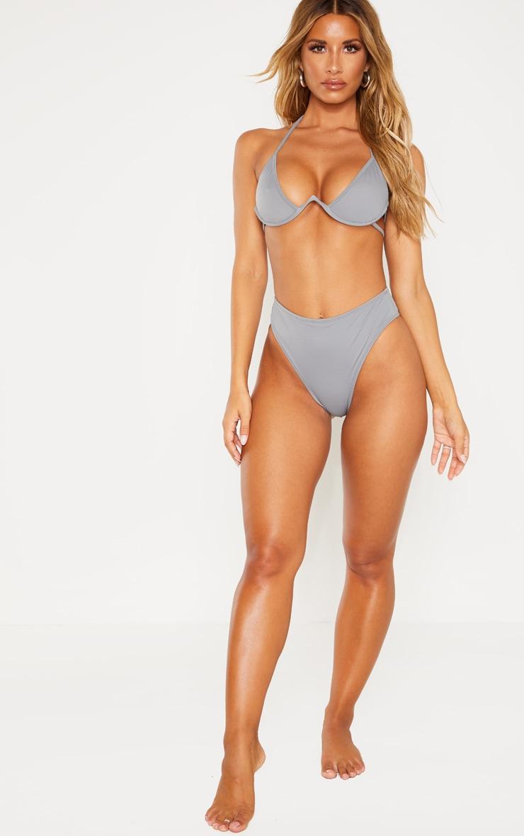 Charcoal High Waisted Cheeky Bum BikiniBottom 5