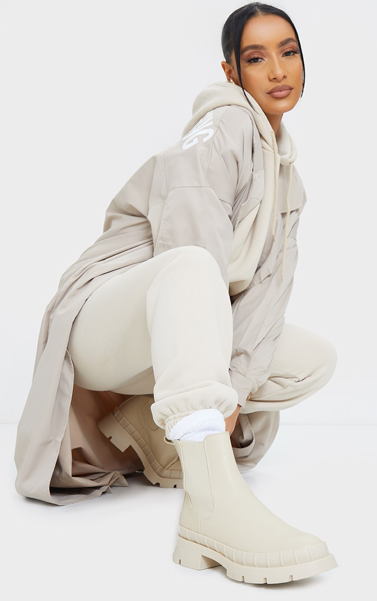 Cream Chunky Welly Style Chelsea Boots 1
