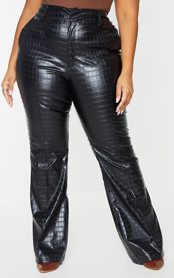 Plus Black Faux Leather Croc Embossed Flare Trousers 2