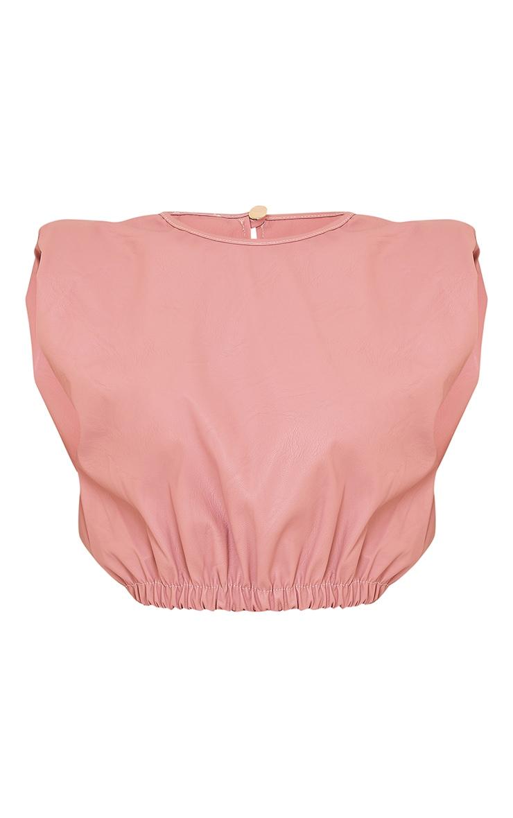 Pink PU Shoulder Pad Ruched Hem Crop Top 5