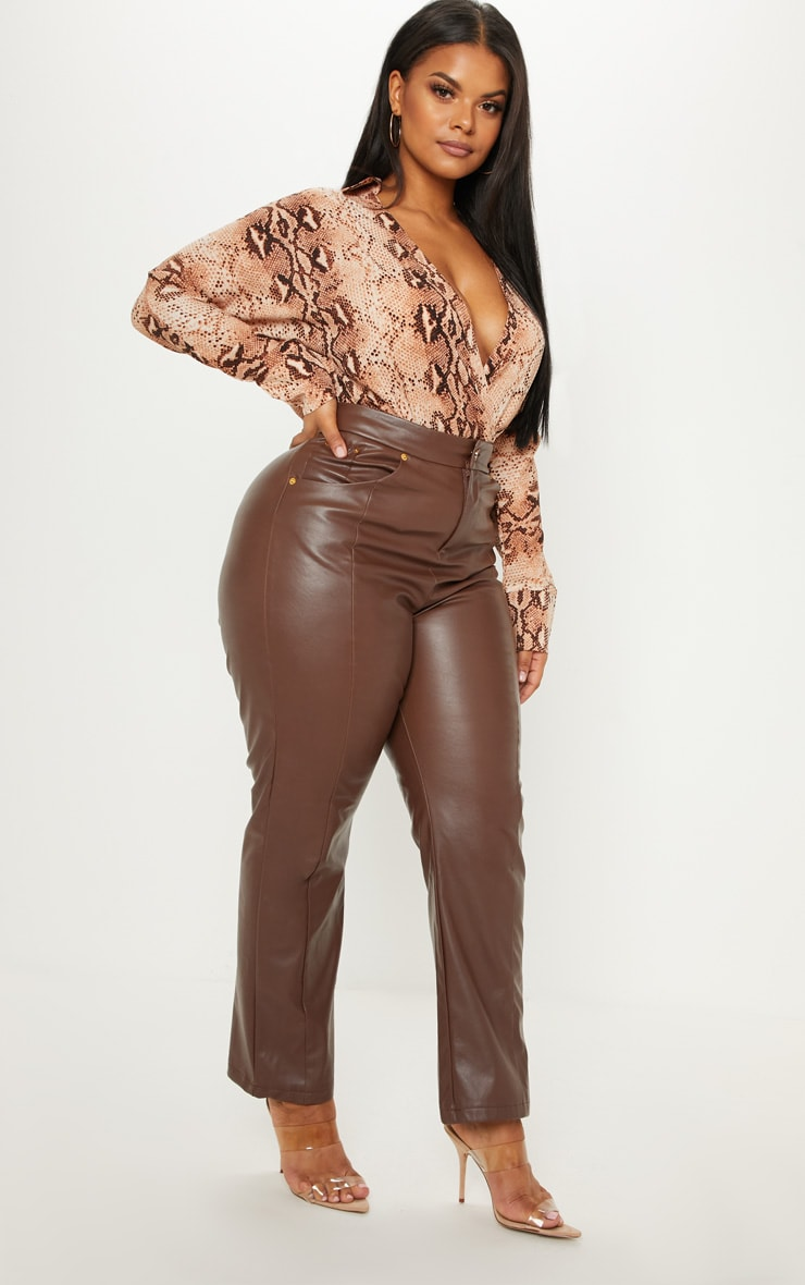 Plus Tan Leopard Print Collar Bodysuit 5