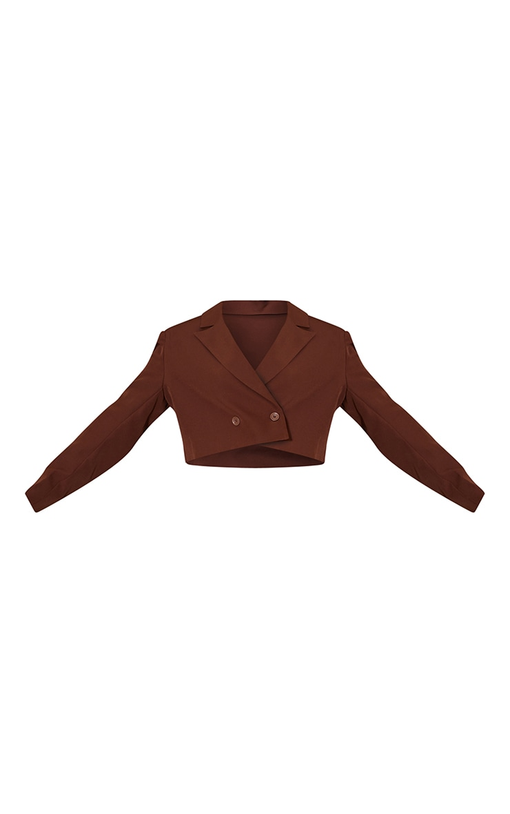 Chocolate Woven Cropped Shoulder Padded Blazer 5
