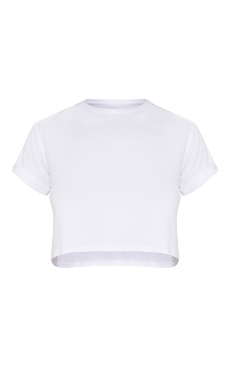 Basic White Roll Sleeve Crop T Shirt 3