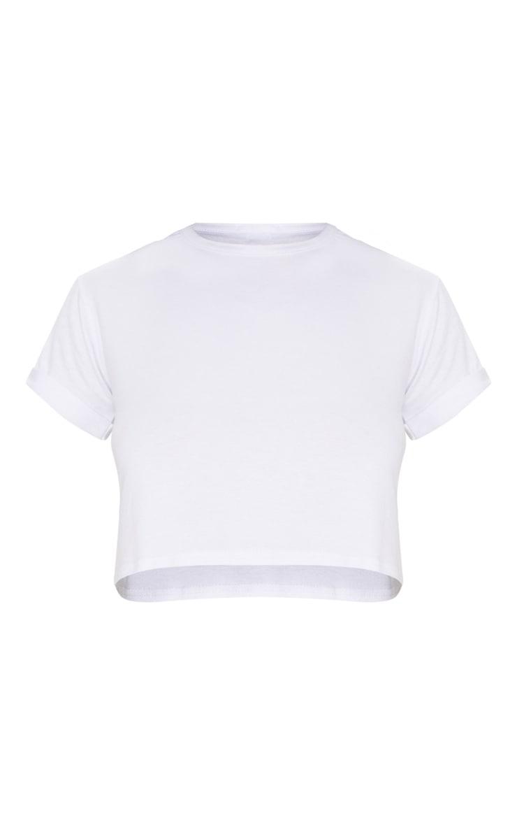 Crop top blanc basique à manches retroussées 3