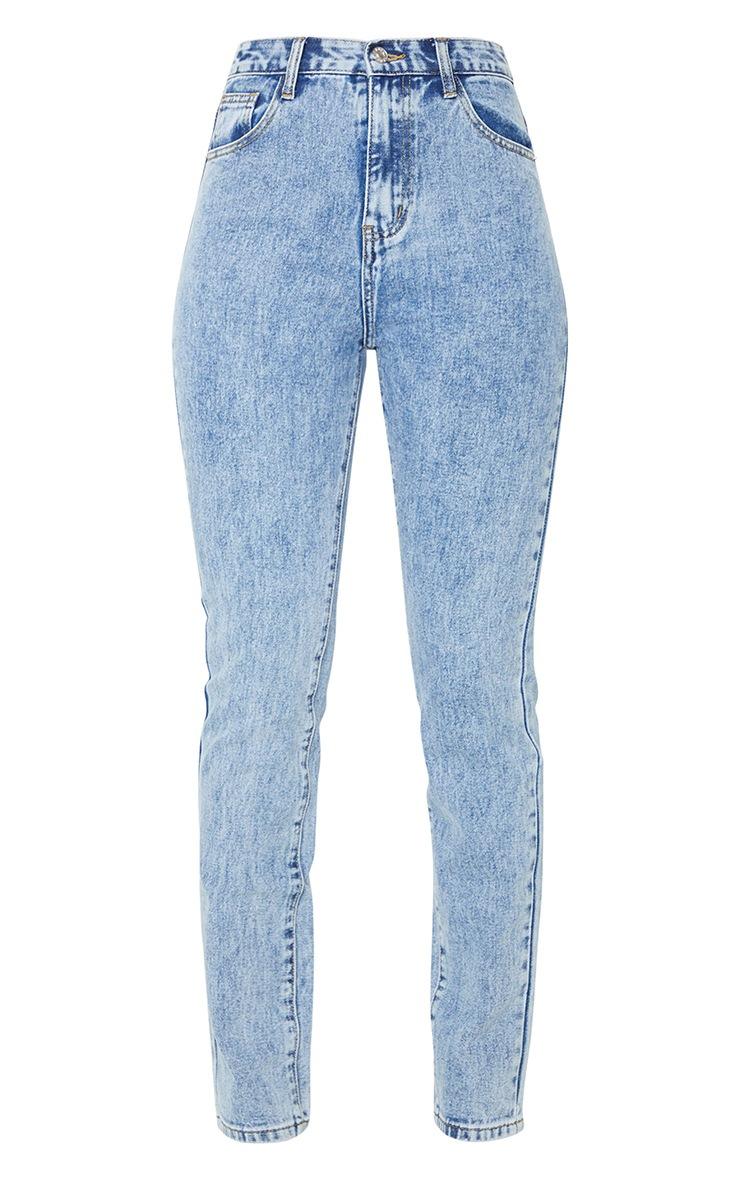 Light Blue Acid Wash Long Leg Rigid Skinny Jeans 5