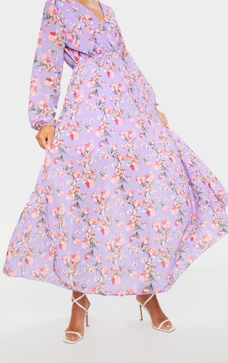Lilac Floral Long Sleeve Pleated Maxi Dress 4