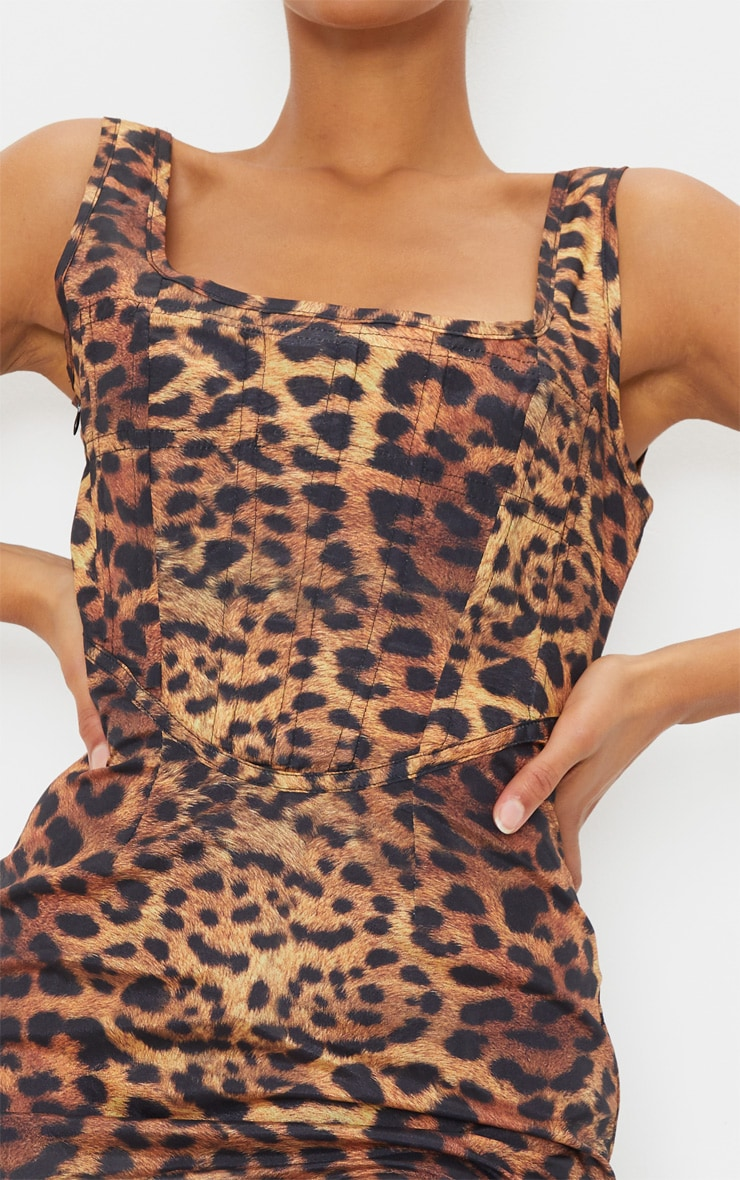Brown Leopard Print Sleeveless Corset Detail Bodycon Dress 4