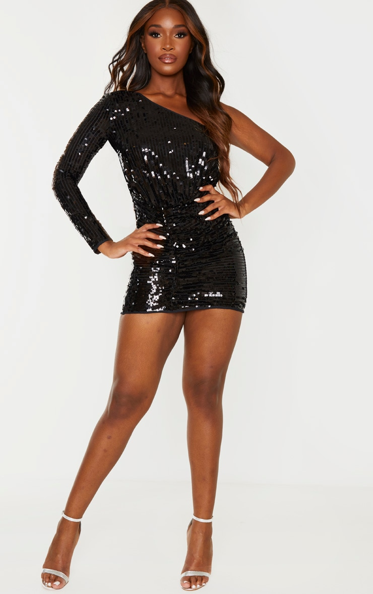 Black Sequin One Shoulder Bodycon Dress 4