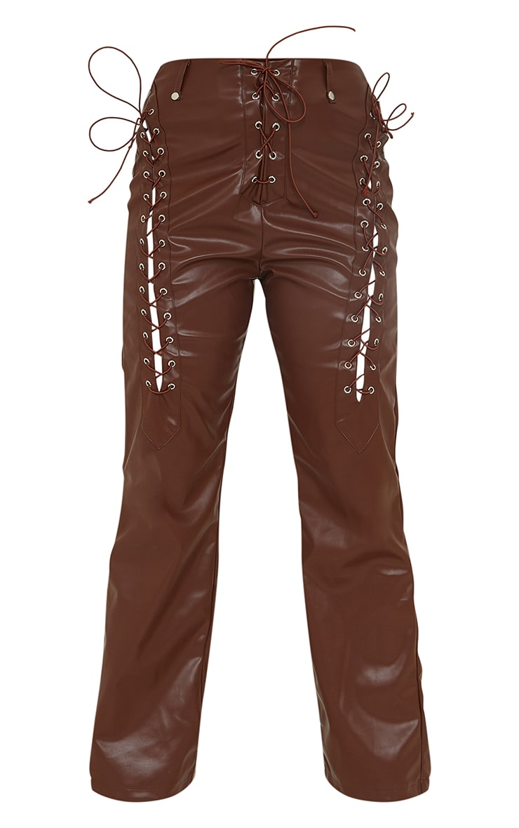 Petite Chocolate Lace Up Faux Leather Pants 5