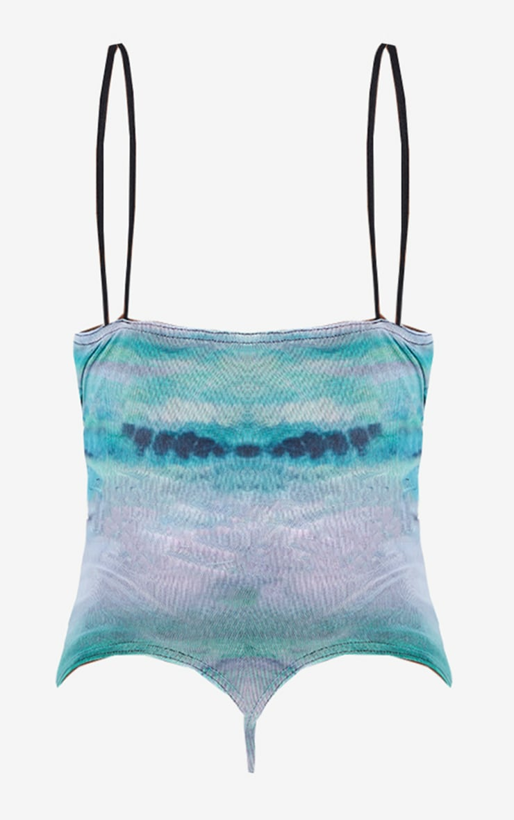 Green Mesh Abstract Print Cup Detail Bodysuit 6