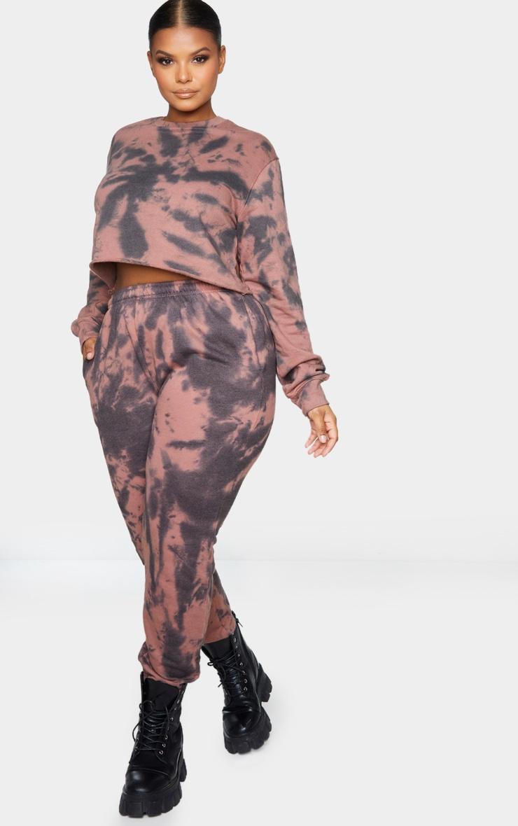 Plus Rust Tie Dye Cropped Sweater 3