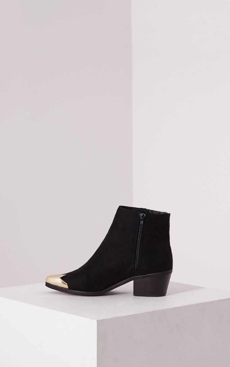 Karrie Black Metallic Detail Faux Suede Ankle Boots 4