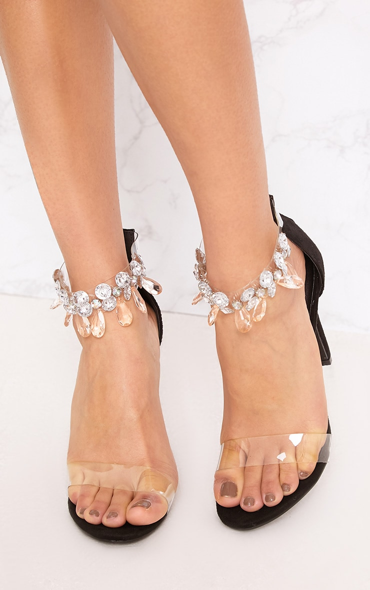Black Jewelled Strap Heels 3