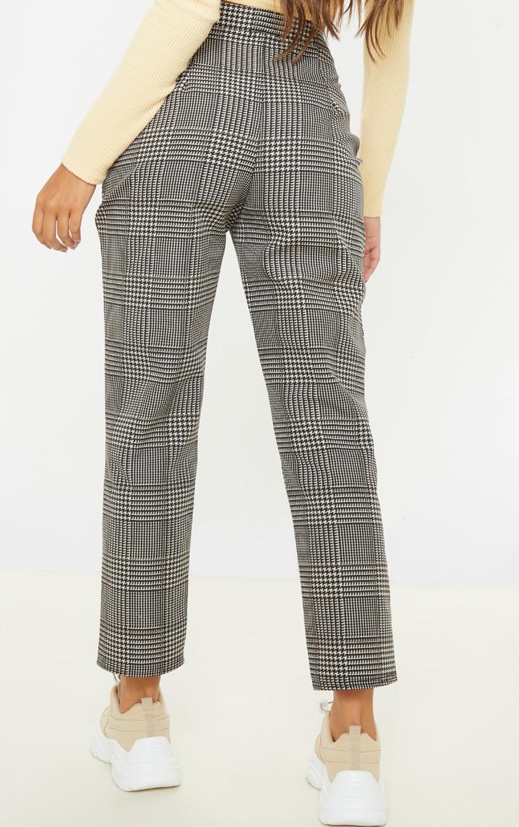 Pantalon cigarette en maille tissée à carreaux gris 4