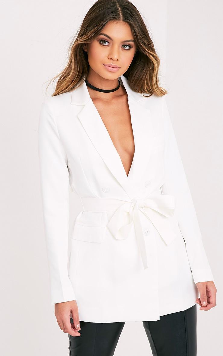Rebecca Cream Belted Blazer 1