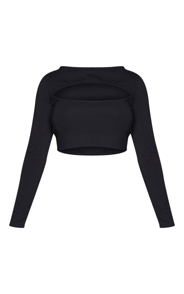 Shape - Crop top manches longues en coton noir à large découpe  5