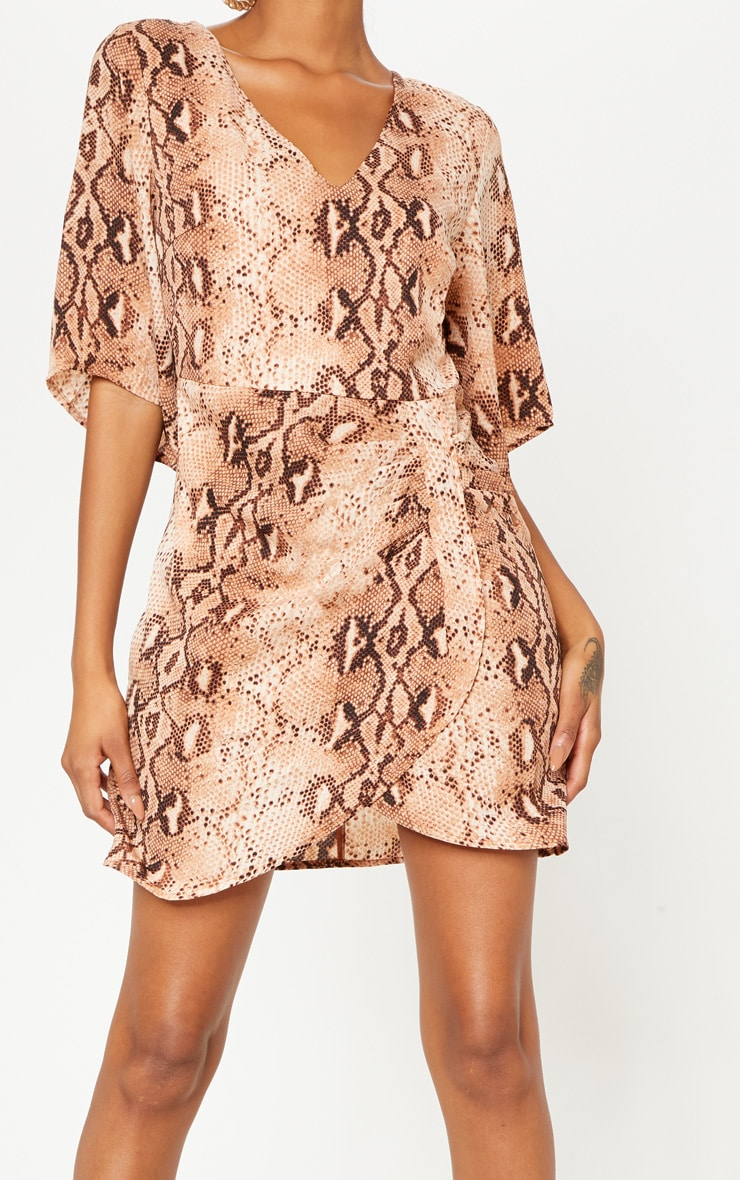 Brown Chiffon Snake Print V Neck Ruched Front Dress 5