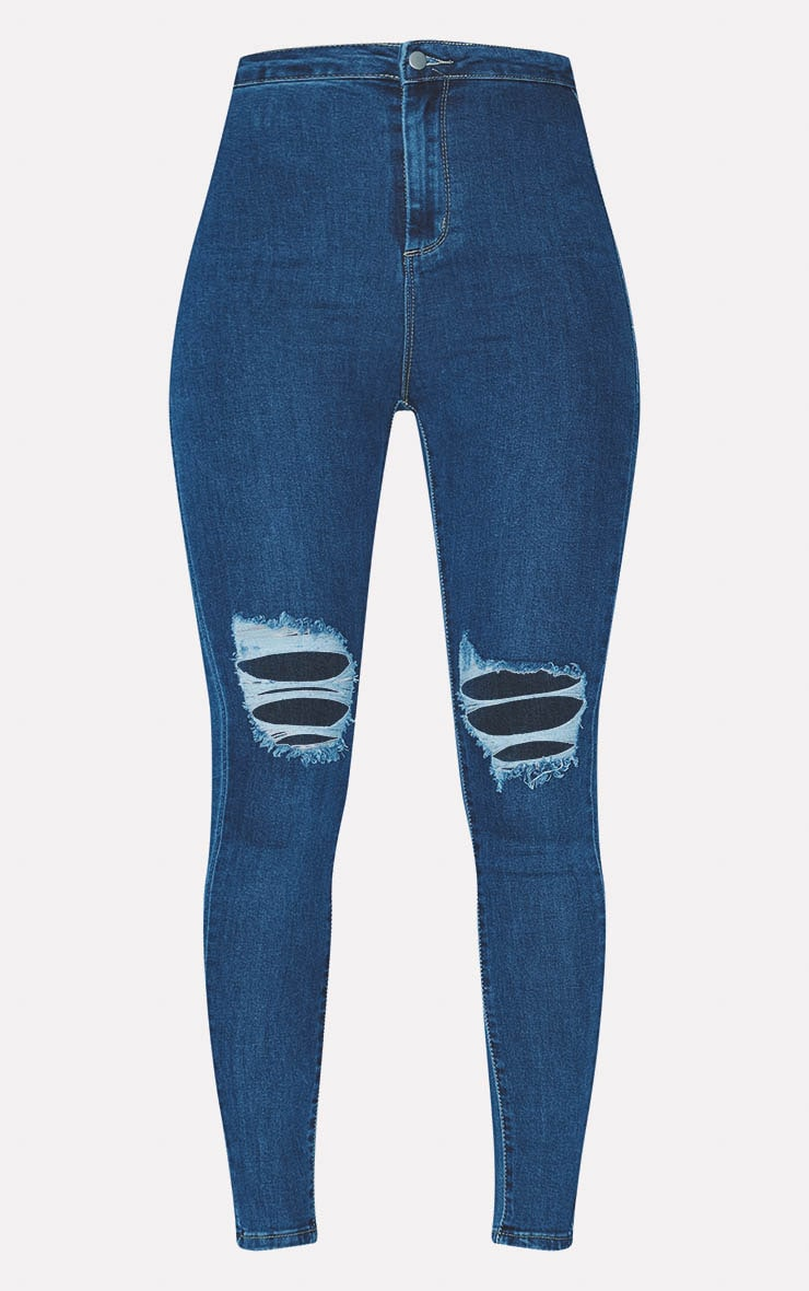 PRETTYLITTLETHING Mid Blue Knee Rip Disco Skinny Jean 3