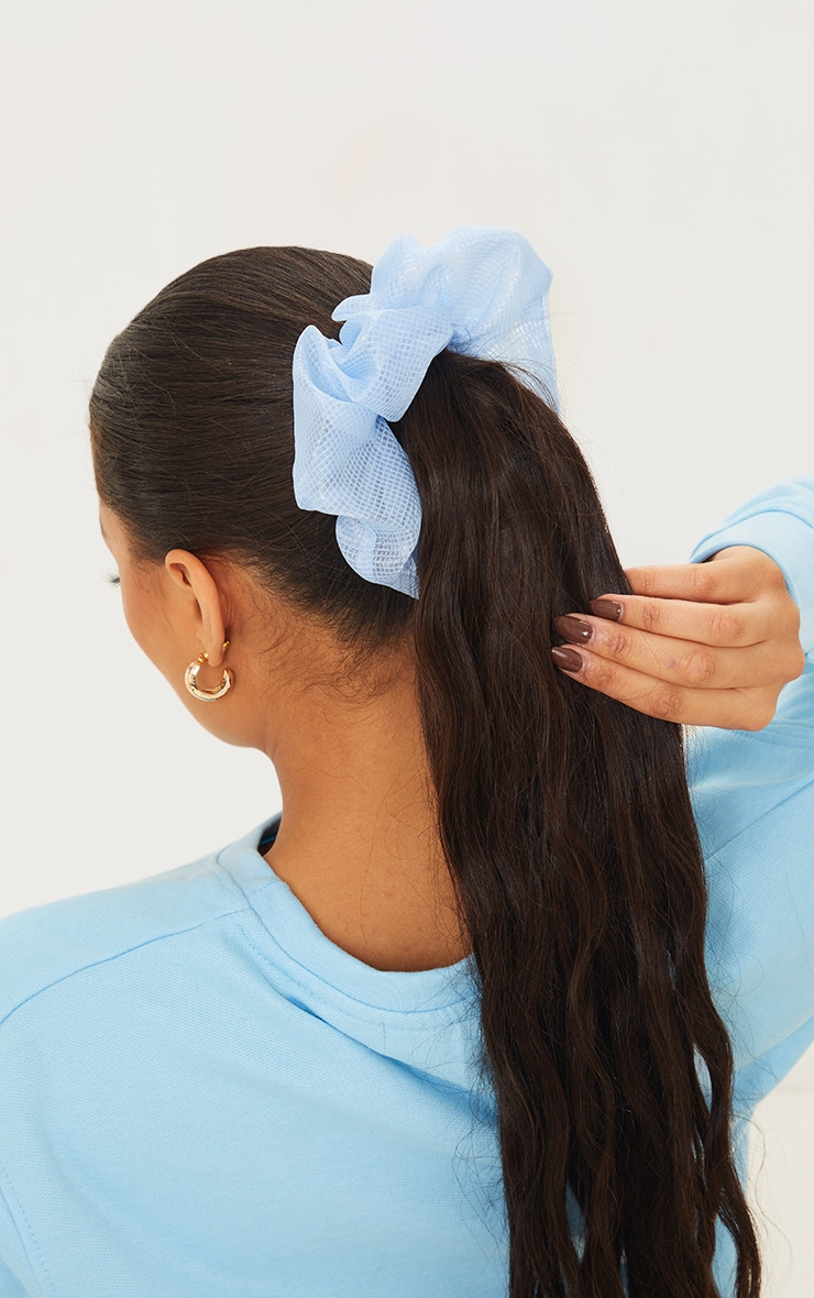 Baby Blue Check Mesh Scrunchie 1