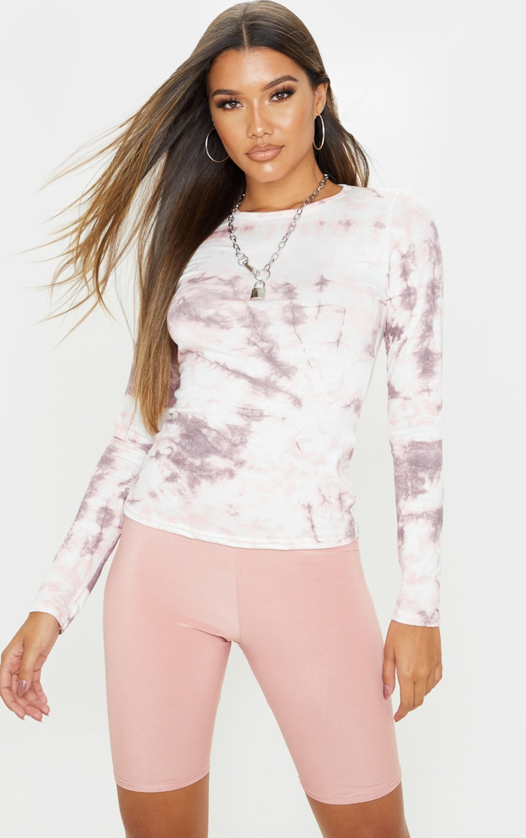 Basic Pink Tie Dye Long Sleeve Fitted T Shirt 1