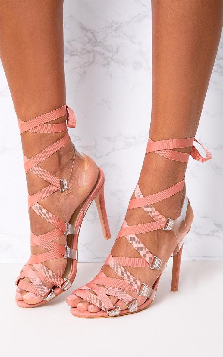 Blush Lace Up Heels 1