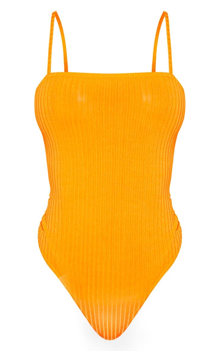 Orange Rib Strappy Sleeveless Bodysuit 3