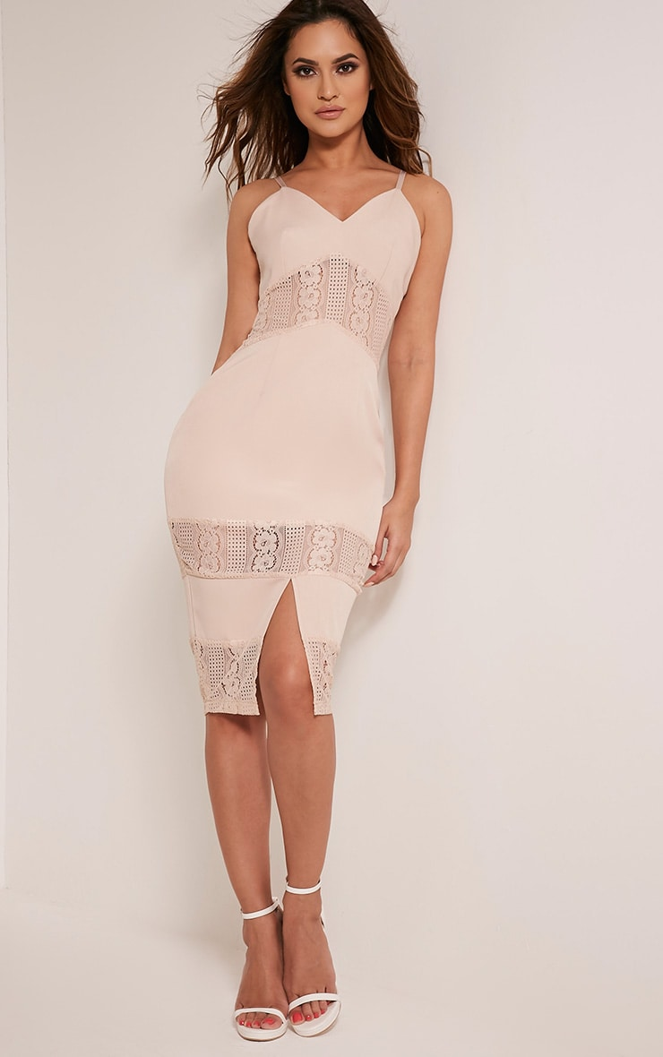 Nicky Nude Strappy Lace Panel Midi Dress 4