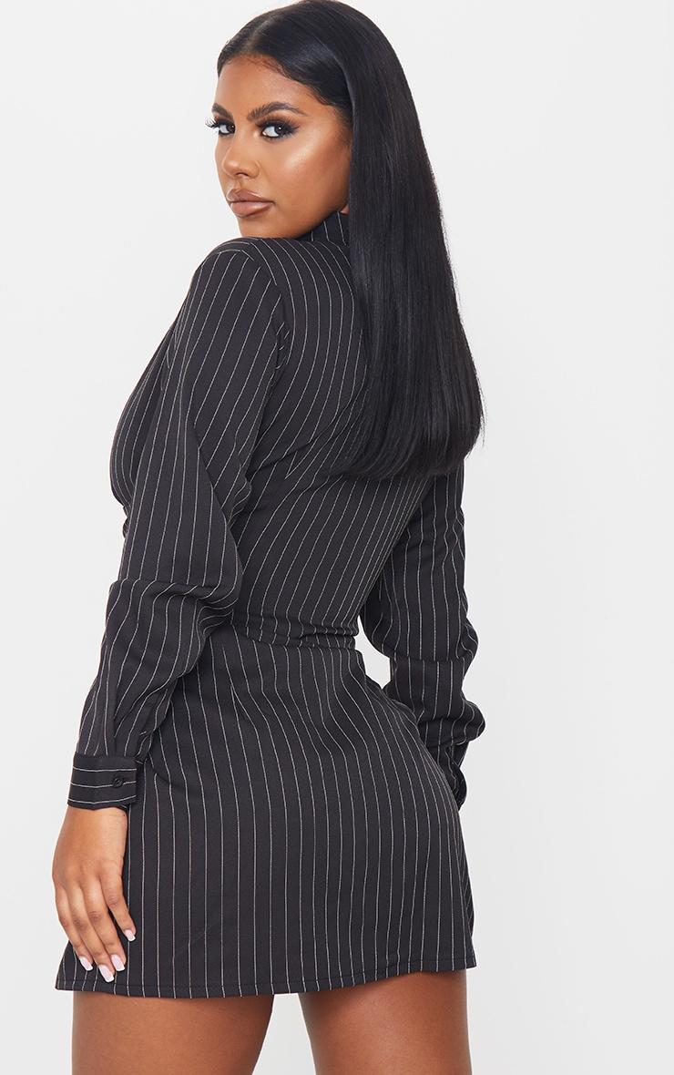 Black Pin Stripe Hook & Eye Suspender Corset Detail Shirt Dress 2
