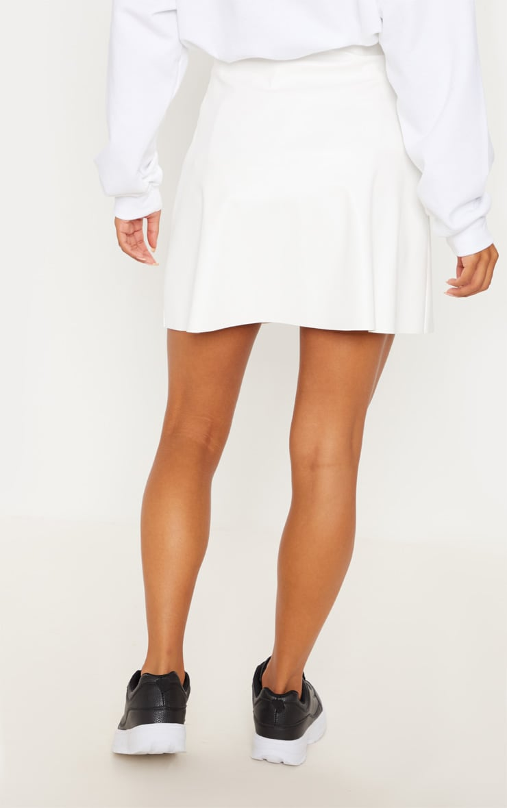 Ivory Faux Leather A Line Mini Skirt 4