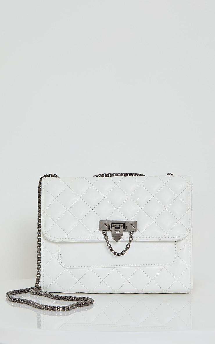 White Diamond Quilted Cross Body Bag 2