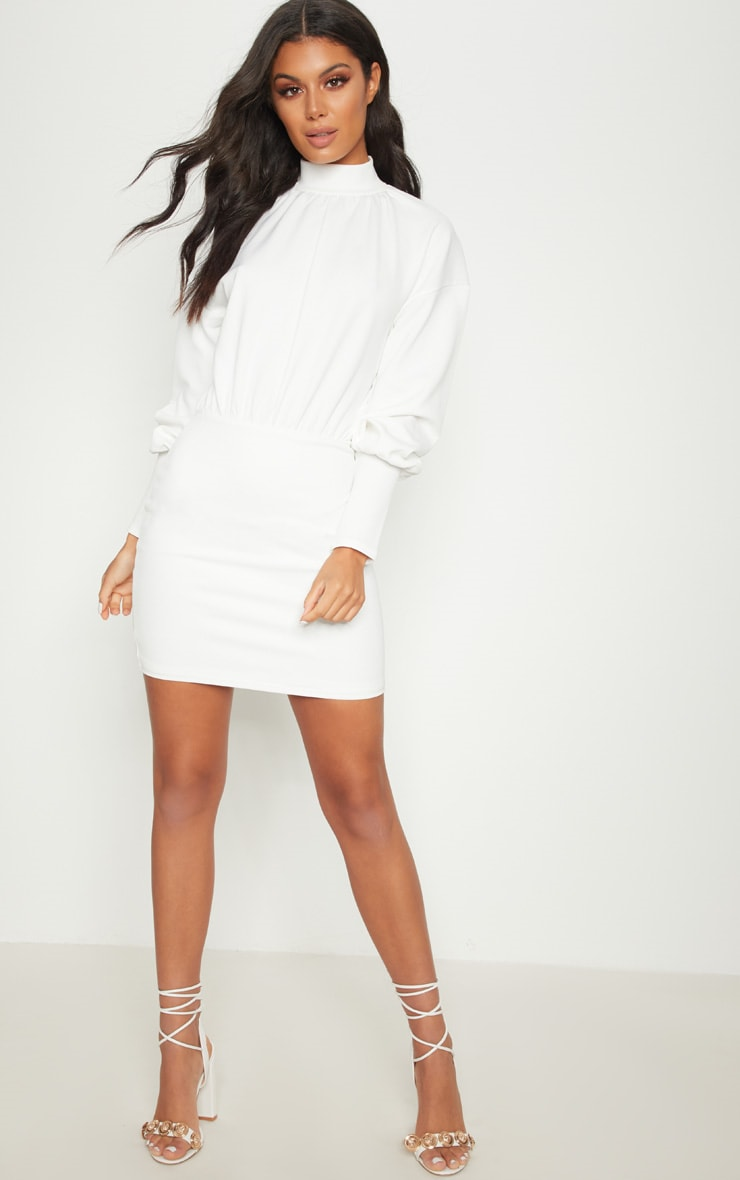 White High Neck Balloon Sleeve Bodycon Dress 4