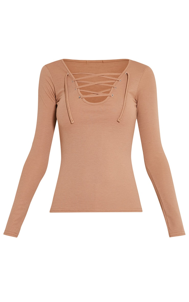 Luco Taupe Lace Up Ribbed Top 3