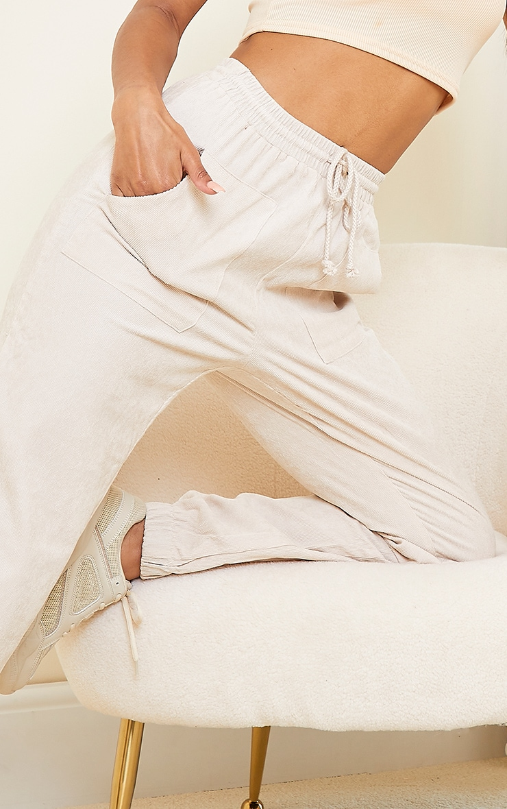 Cream Cord Pocket Detail Casual Joggers 4