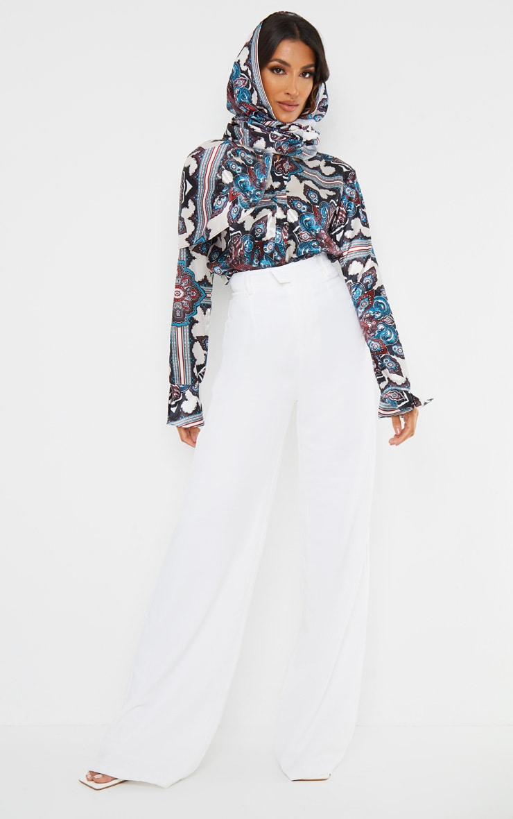 Blue Paisley Print Flare Cuff Shirt 3