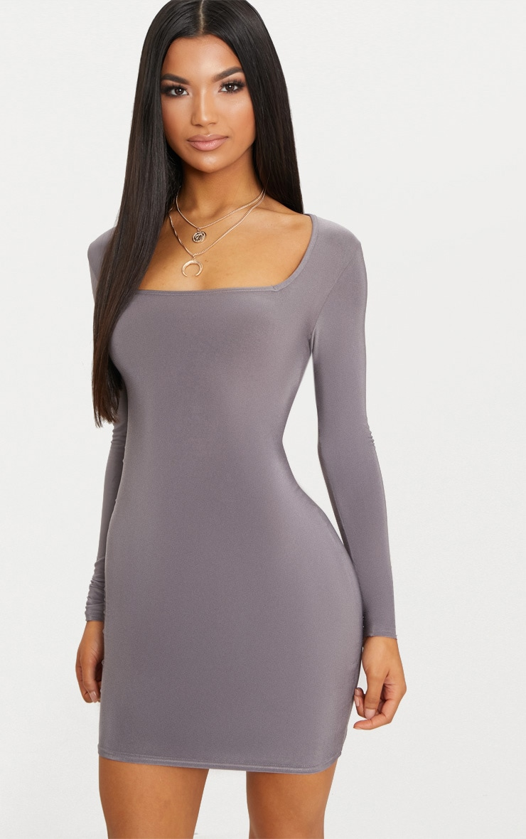 Charcoal Grey Second Skin Slinky Square Neck Bodycon Dress 4