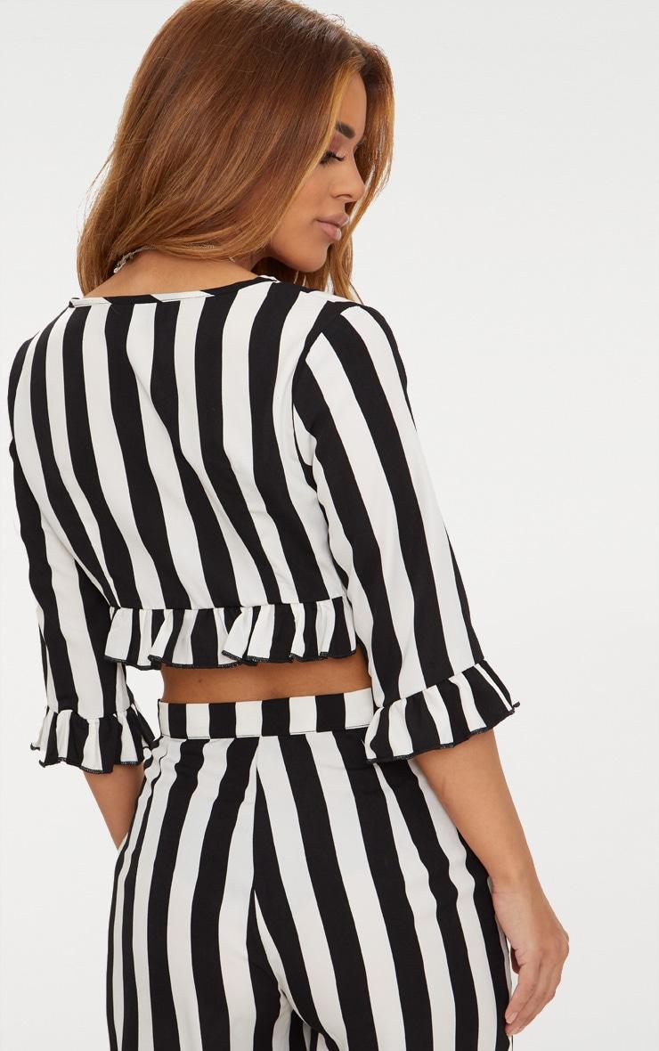 Petite Black Monochrome Stripe Tie Front Blouse 2