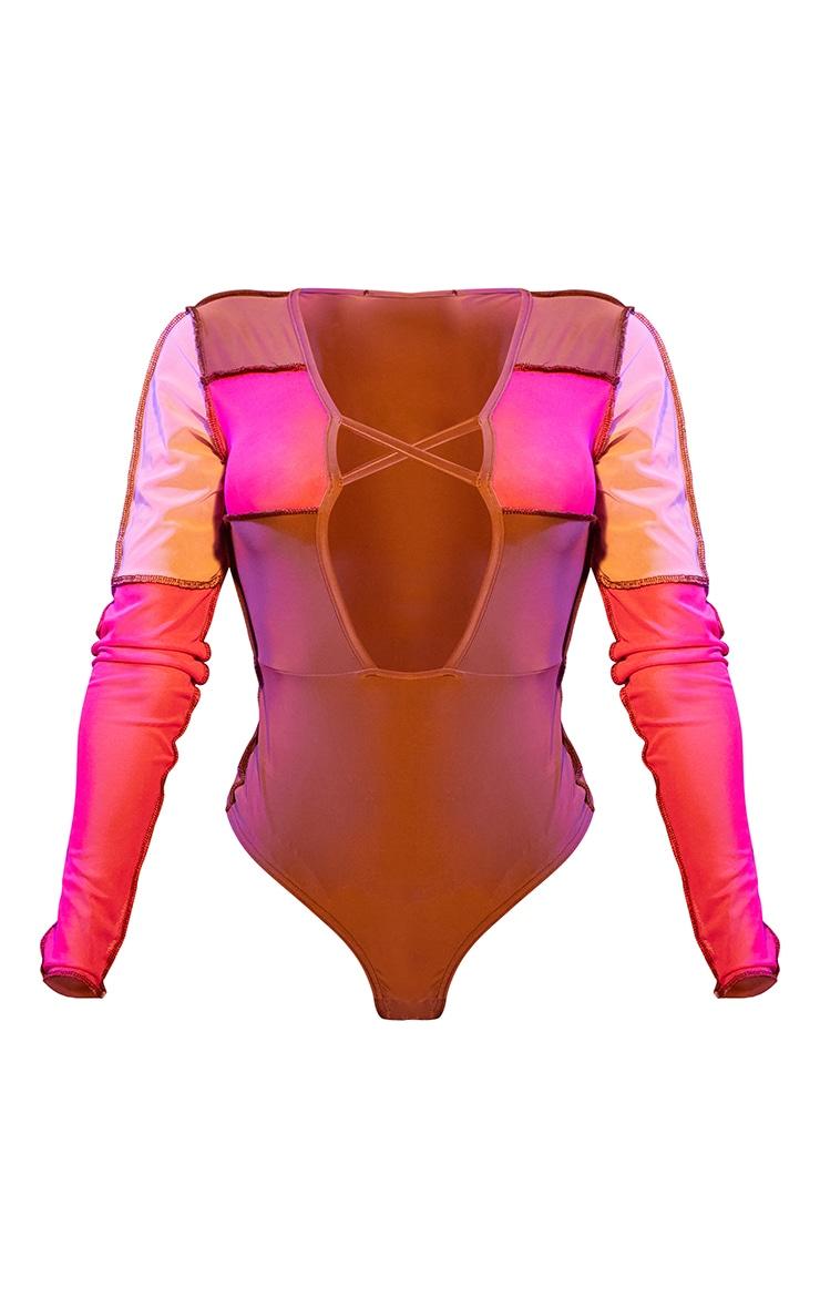 Shape Pink Mesh Panel Detail Lace Up Long Sleeve Bodysuit 5