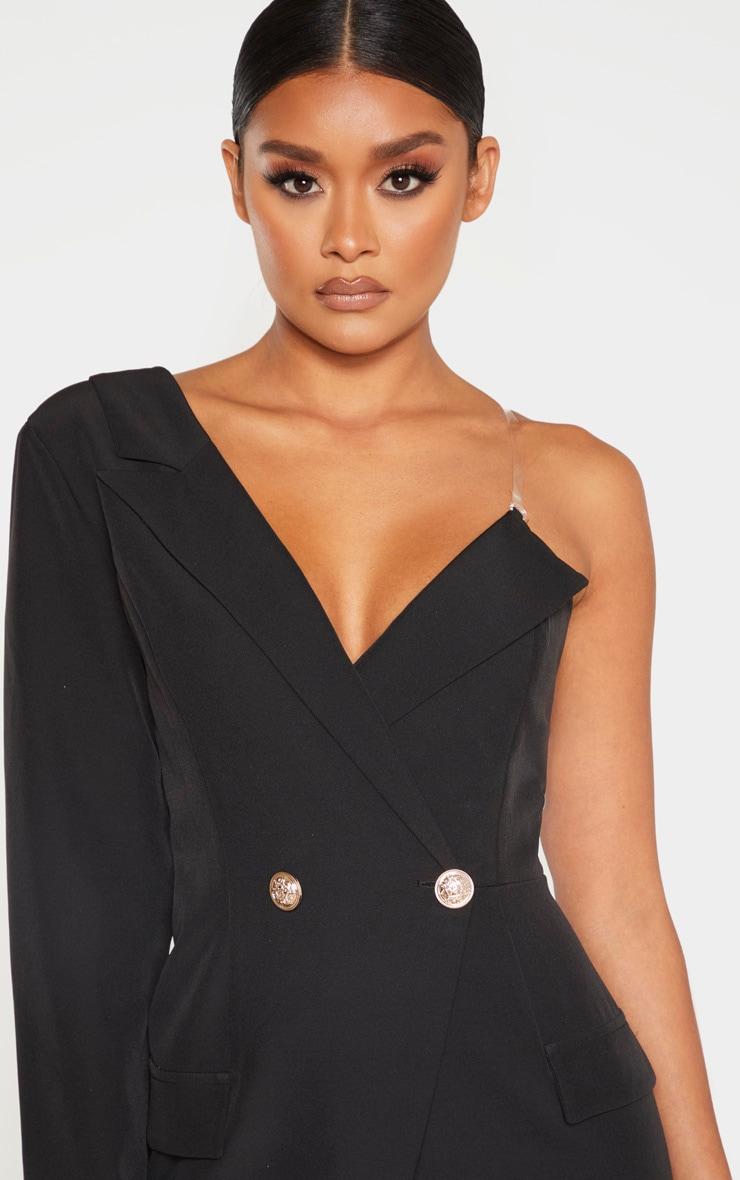Robe blazer asymétrique noire à épaule unique 5