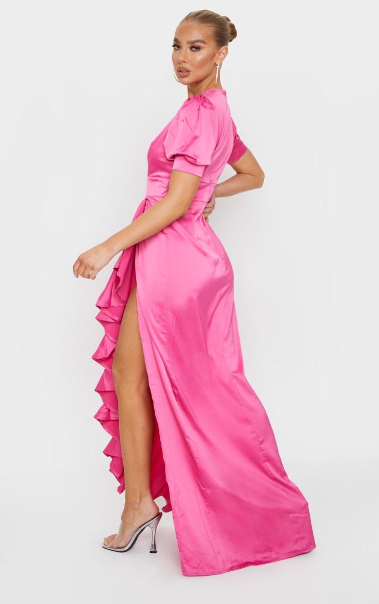 Fuchsia Satin Short Sleeve Frill Detail Maxi Dress 2