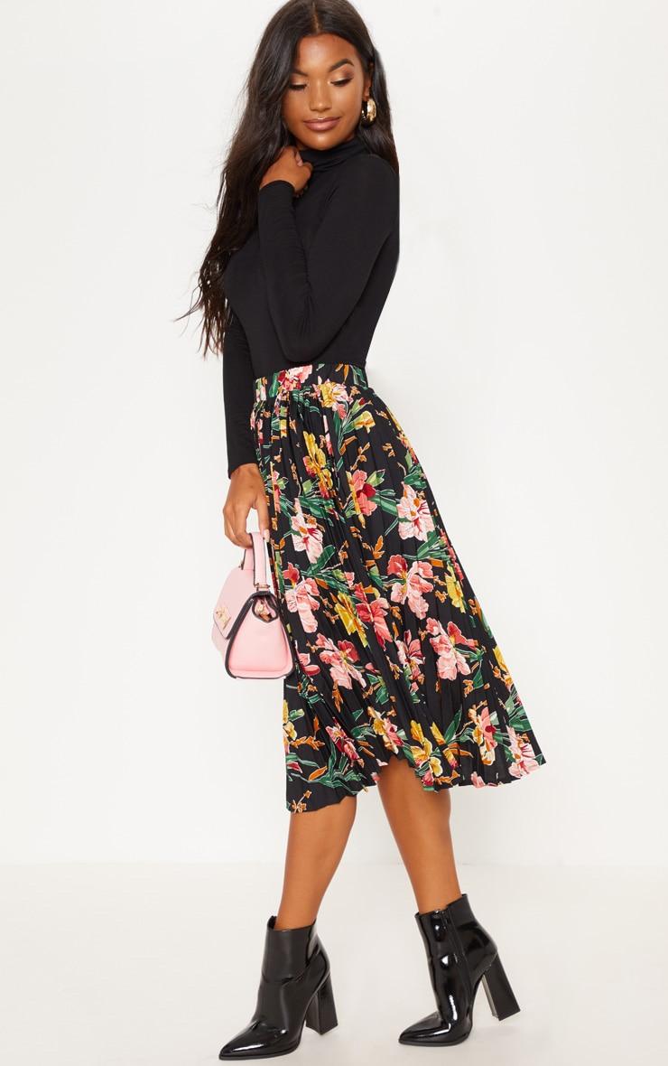 Black Floral Printed Pleated Midi Skirt 5