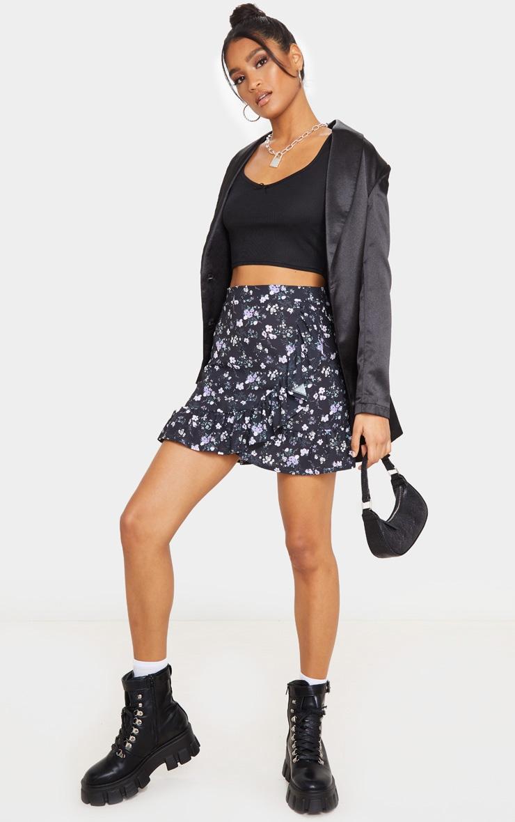 Black Ditsy Floral Frill Hem Wrap Mini Skirt 1